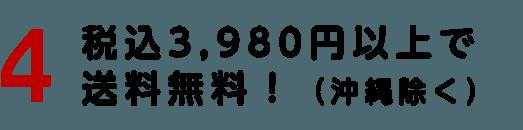 税込3,980円以上で送料無料!(沖縄除く)